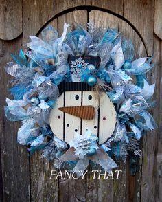 Snowman Christmas Wreath by FancyThatDecor on Etsy