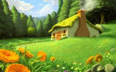 Beautiful nature drawing - the house from the story. Drawings, Paintings, Sketches, Design, Artwork Wallpapers. HD Wallpaper Download for iPad and iPhone Widescreen