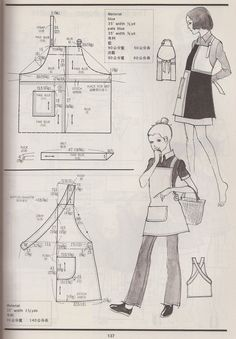 """The cross-back apron is actually pretty cute. """"examples of vintage aprons from the Kamakura-Shobo Publishing Co. Pattern Drafting books Vol. Sewing Aprons, Sewing Clothes, Diy Clothes, Japanese Apron, Japanese Sewing, Retro Apron Patterns, Vintage Sewing Patterns, Dress Patterns, Diy Couture"""