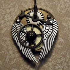 TIME to SOAR - Steampunk Airship Pirate Pilot Vintage Pocketwatch Plate Mens, Womens Necklace - LARP - Pewter Wings. $29.99, via Etsy.