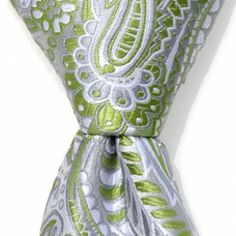 Silver & Green Paisley Tie | Silver & Green Tie | Zipper Ties For Boys