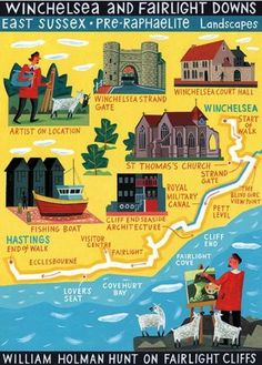 East Sussex Pre-Raphaelite map - 'Walk of the Month' The Daily Telegraph Acrylic on paper John Montgomery St Thomas Church, Illustrated Maps, Pictorial Maps, Travel Illustration, Pre Raphaelite, Happy Trails, Turkey Travel, Isle Of Wight, Travel Maps