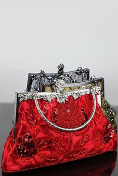 Czerwona torebka wieczorowa w stylu retro | czerwone torebki barok hand made - RĘKODZIEŁO