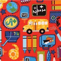 Tela roja escuela lápiz color colegio Clothworks Schoolies - 3.25 el medio metro