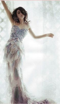 Beautiful iridescent pastel petal gown, just amazing!!