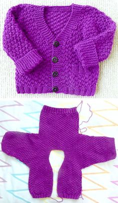 Crochet Baby Cardigan Free Pattern, Baby Boy Knitting Patterns Free, Baby Booties Knitting Pattern, Crochet Baby Sweaters, Beginner Knitting Patterns, Knitted Baby Clothes, Knitting For Kids, Free Knitting, Cardigan Pattern