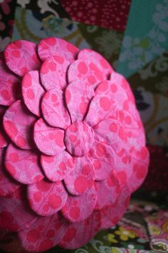 Fabric Flower Round Pillow Tutorial | Jessica Peck -- a splash of pink for the 3-year-old.