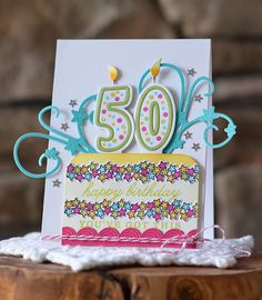 50th Birthday Card by Amy Sheffer for Papertrey Ink (March 2016)