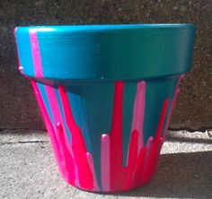 Homemade  flower pots with acrylic paint  Instructions on the link - just scroll down.