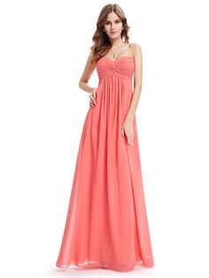 Rose Red Chiffon Sweetheart Empire Waist Floor Length Pretty Long Bridesmaid Dress Prom Dress