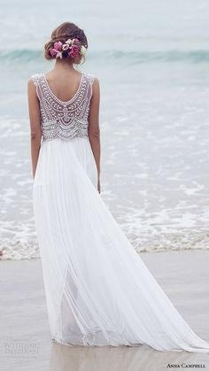 elegant #beachwedding style | dress by Anna Campbell