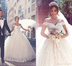 2016 New Modest Arabic Wedding Dresses A Line Sweetheart Cap Sleeves Lace…