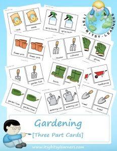 Kids gardening tools matching activity sheet gardening for Gardening tools preschool