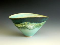 stoneware vessel with lava glaze