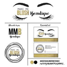 MUA Makeup Eyelash Eyebrows Microblading Business Startup Logo Brand Set Business Card Watermark Pre-made Design Handmade Small Business