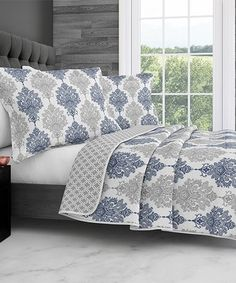 Look at this #zulilyfind! Navy & Gray Someson Stitched Quilt Set #zulilyfinds