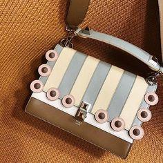 Trendy Handbags, Pretty Pastel, Briefcase, Fendi, Studs, Stripes, Sassy, Purses, Wallet