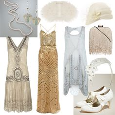 Vintage Great Gatsby wedding outfits.  Oh so shabby chic