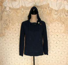 Navy Blue Hooded Jacket Women Hoodie Pullover by MagpieandOtis