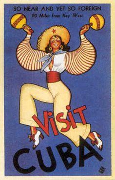Visit Cuba vintage Art Deco poster