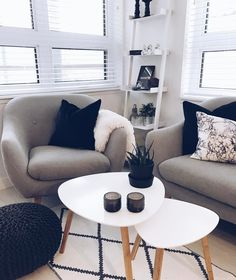 You can find us hanging out in this cozy corner Tag us for a chance to be featured! Home Design Decor, House Design, Duplex, Corner Chair, Cozy Corner, Throw Cushions, Small Tables, Scandinavian Home, Living Room