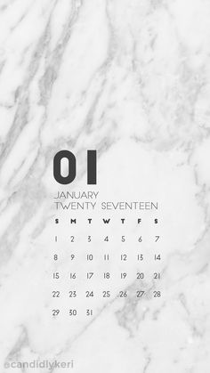 Marble organized January calendar 2017 wallpaper you can download for free on the blog! For any device; mobile, desktop, iphone, android!