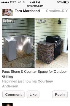 This is just a pic. There is no link. Love this idea and it isn't too difficult. Build the structure from 2x4s, cover with cement board then apply stone and countertop. You could use a veneer stone and concrete countertops.