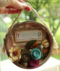 Friendship collage in an embroidery hoop