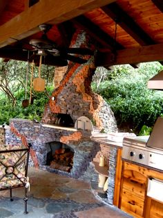 fireplace and pizza oven
