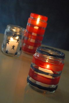 20 DIY Fourth of July decorations - Painted glass jars