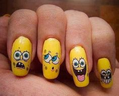 two of my favorite things. Painting my nails and SpongeBob! (tried this last summer, didnt work out) Crazy Nails, Funky Nails, Love Nails, My Nails, Gorgeous Nails, Pretty Nails, Nails For Kids, Cute Acrylic Nails, Creative Nails