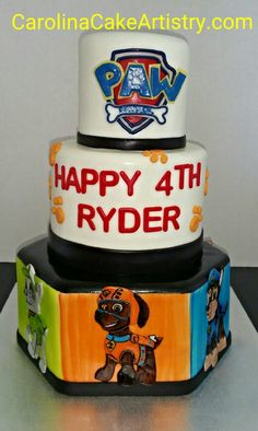 Really cute Paw Patrol birthday cake worth all hand painted edible characters!