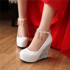 Shoespie Classy Patchwork Jewelled Fringe Wedge Heels