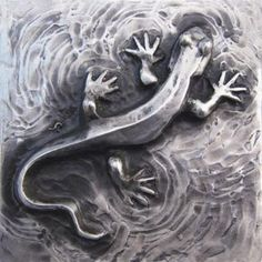 Newt bas relief sculpture plaque in fine silver by EarthlyCreature