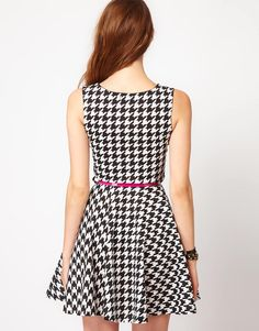 Club L Houndstooth Fit And Flare Dress