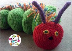 Crochet Munching Caterpillar Hand Puppet ~ free pattern