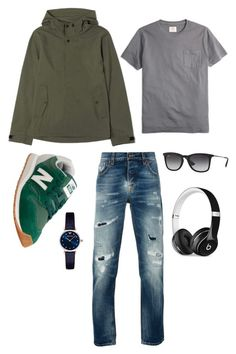 """""""Men's Street Fashion"""" by viddaah ❤ liked on Polyvore featuring Brooks Brothers, Everlane, Nudie Jeans Co., New Balance, Ray-Ban, Emporio Armani, Beats by Dr. Dre, men's fashion and menswear"""