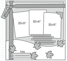 3 photo layout: could be carried across the page for a two-page layout.  Also - leaves could be swapped for candles, snowflakes, letters, eggs, etc. to make a birthday, snow, school, Easter, etc. layout.