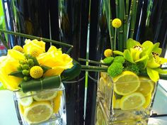 floral table decorations and centerpiece ideas with citrus fruits