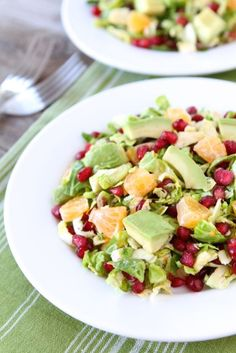 Brussels Sprout Pomegranate Citrus Salad Recipe on twopeasandtheirpod.com