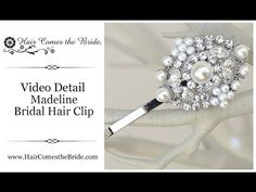 """VIDEO- Classic Vintage Inspired Rhinestone & Pearl Hair Clip """"Madeline"""" by Hair Comes the Bride ~ #bridalhairaccessories #weddinghairaccessories #bridalhairclip #vintagehairclip"""