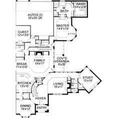 European Style House Plan - 5 Beds 5 Baths 5165 Sq/Ft Plan #141-146 Floor Plan - Main Floor Plan - Houseplans.com