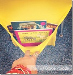 The First Grade Parade: classroom What a great idea! Turning those stretchy book covers into holders that go on the back of a chiar. Classroom Setup, Classroom Design, Kindergarten Classroom, School Classroom, Kindergarten Rocks, Classroom Routines, Classroom Environment, Classroom Crafts, Organization And Management