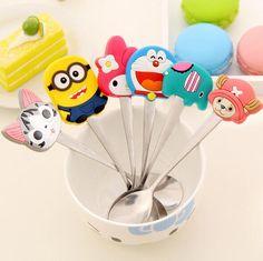 Animal lindo de la historieta de silicona mango de acero inoxidable té café cuchara de utensilios de cocina de moda Colección de Muñecas juguetes para Bebés