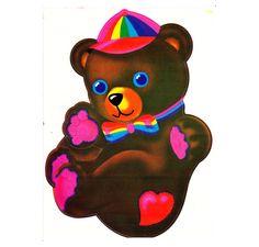 Rare Huge Vintage Lisa Frank Dancing Floating Bear Sticker 80's Sticker Sheet Teddy Bear. $13.99, via Etsy.