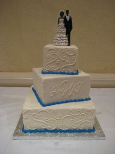 3 Tier Square Wedding Cakes to Boween for the inspiration This