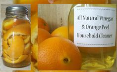 DIY Citrus Cleaner ~     Add orange peels (or any citrus peel) to a quart of white vinegar in a closed container and let it set for two weeks. Combine citrus/vinegar solution half/half with water and use for cleaning. Works on floors, tiles, fixtures, kitchen  bath etc. Smells good and is tough on scum! Best of all there are no chemicals. ♥