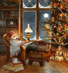 """Trisha Romance Handsigned and Numbered Limited Edition Giclee:""""Christmas Nap"""" Christmas Scenes, Christmas Past, Christmas Pictures, Winter Christmas, Xmas, Christmas Fireplace, Disney Christmas, Christmas Decor, Christmas Wreaths"""