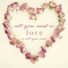 all you need is ~ love ~ is all you need - pink rosebud heart wreath