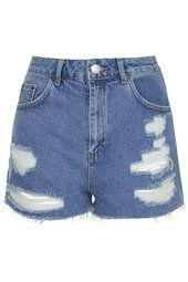 TOPSHOP - MOTO Vintage Ripped Mom Shorts